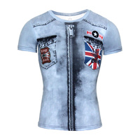 New Summer Men 3D T Shirt Fake Pocket Zipper Short Sleeve Casual Compression Shirt With National Flag Print O-Neck Funny T Shirt
