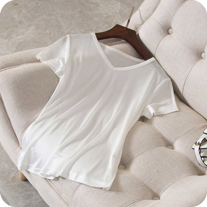 100% Silk T shirt Women High Quality Knitted Fabric Solid V Neck Short Sleeves 3 Colors Casual Basic Clothing Fashion 2018
