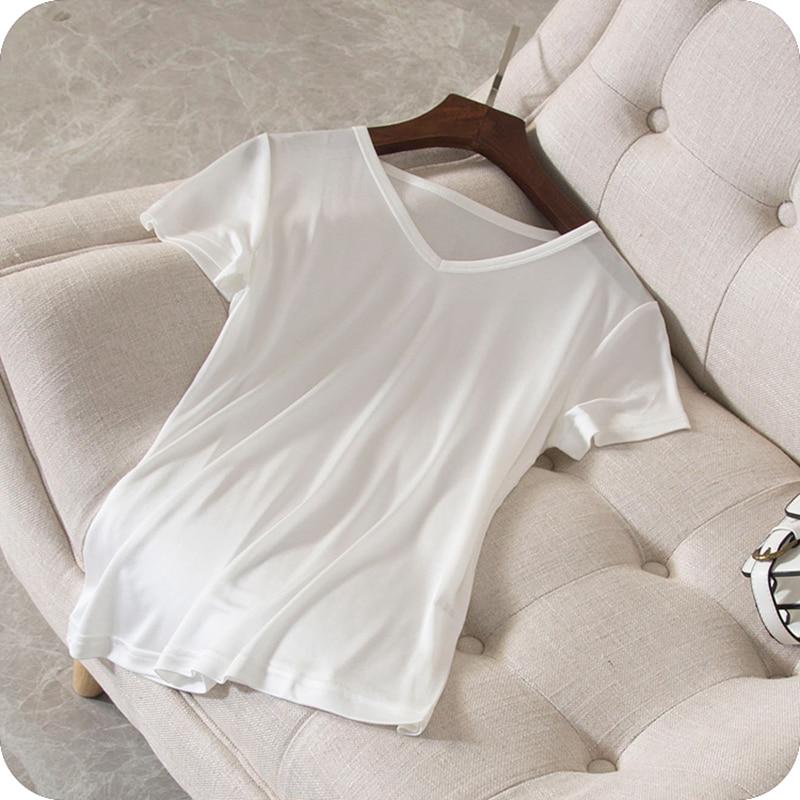 100% seide T shirt Frauen Hohe Qualität Gestrickte Stoff Solide V ausschnitt Kurzen Ärmeln 3 Farben Beiläufige Grundlegende Kleidung Mode 2018-in T-Shirts aus Damenbekleidung bei  Gruppe 1