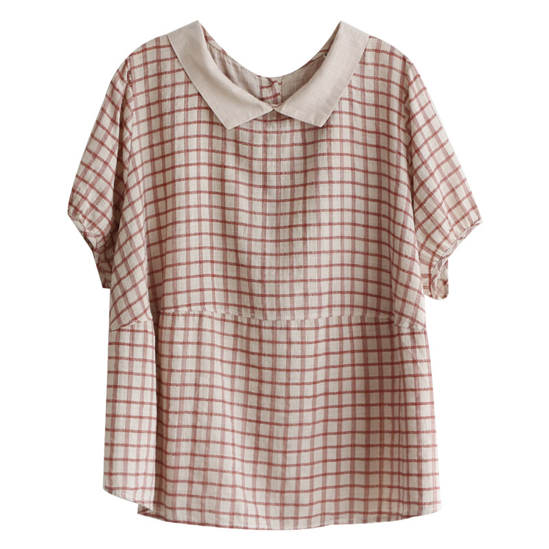 Preppy style peter pan collar plaid England style casual cotton linen short sleeve shirt female vintage