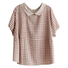 Preppy style peter pan collar plaid England style casual cot