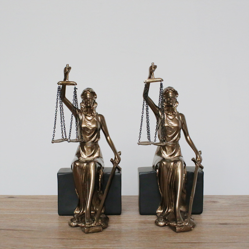 2Pc/set Goddess Of Justice Greek Amis Themis Modern Art Craft Statue Vintage Imitation Copper Resin Bookshelf Action Figure Toy2Pc/set Goddess Of Justice Greek Amis Themis Modern Art Craft Statue Vintage Imitation Copper Resin Bookshelf Action Figure Toy