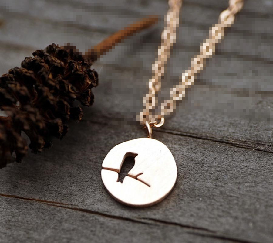 Hollow Bird Rolo Chain Dics Necklace Customized Cut out Animal Coin Pendant Jewelry Wholesale Christmas Gift ...