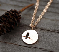 Hollow Bird Rolo Chain Dics Necklace Customized Cut out Animal Coin Pendant Jewelry Wholesale Christmas Gift