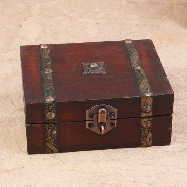 e6c7255759d9 US $3.93 8% OFF|Stylish Vintage Metal Lock Decorative Trinket Jewelry  Storage Box Handmade Classical Wooden Treasure Case storage box  organizer-in ...