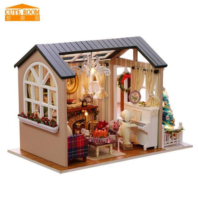 Delightful Cuteroom DIY Hölzernes Spielzeughaus Miniatur 3D Holz Puzzle Puppenhaus  Amerikanischen Retro Stil Holz Haus Puppe