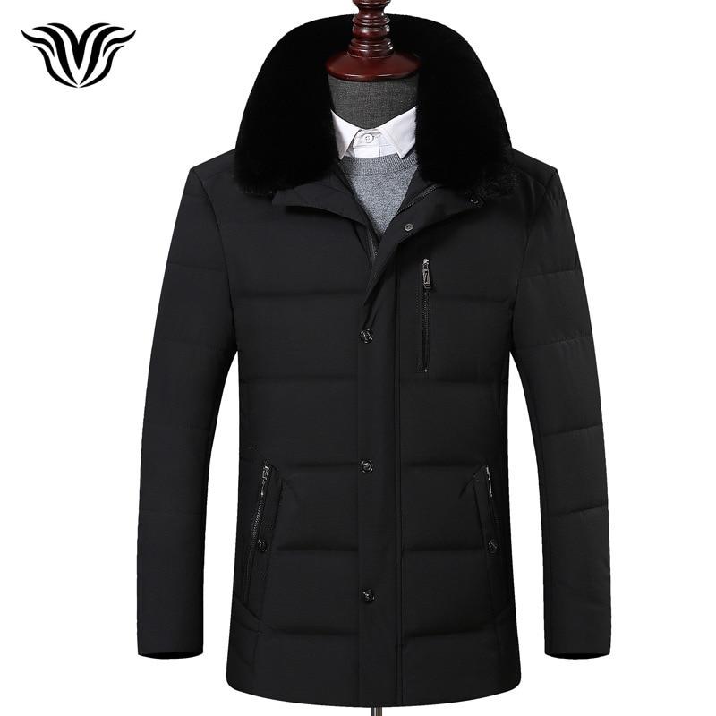 2018 winter new style zipper pocket business casual men's warm   down   jacket detachable luxury high quality fur collar   down     coat