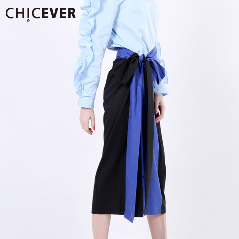 CHICEVER Lace up High Waist Long Skirt Midi Women Skirts Contrast Color Patchwork Asymmetrical Casual Clothes Korean Autumn 2017