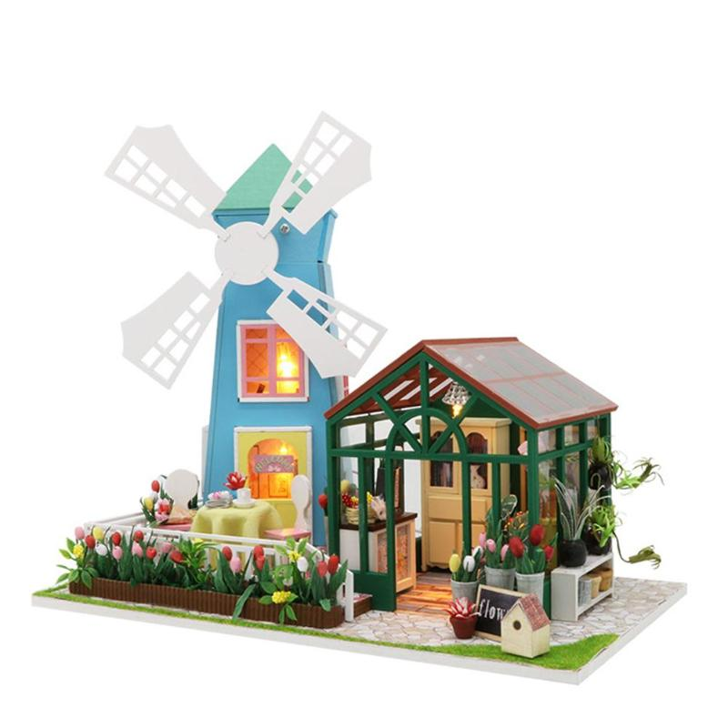 2018 DIY Wooden Miniature Doll House for Children Adult Windmill Flower House with Furnitures Model Building Kits Dollhouse Toys