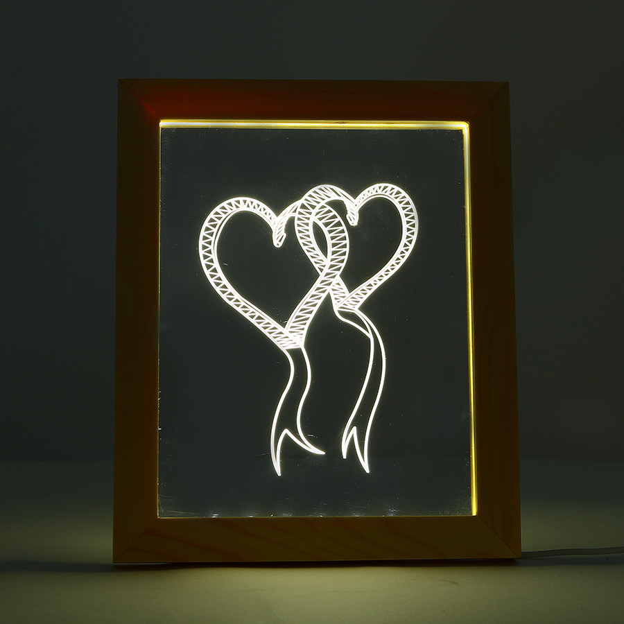 FL-716 3D Photo Frame Illuminative LED Night Light Wooden Heart-shaped Christmas USB Lamp for In-Outdoor Fairy Decoration Lights