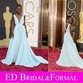 Lupita Nyong azul vestido de Oscar 2014 Red Carpet vestido con cuello en V gasa Celebrity vestido de noche