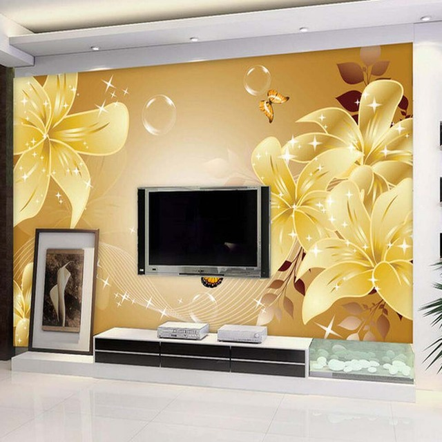 Lily Flower Butterfly Mural Photo Wallpaper Living Room Wall Art - Butterfly wall decals 3daliexpresscombuy d butterfly wall decor wall sticker