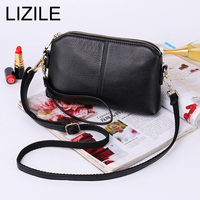 Genuine Leather Vintage Small Women Crossbody Bag Clutch Purse Wristlet Women handbag 2017