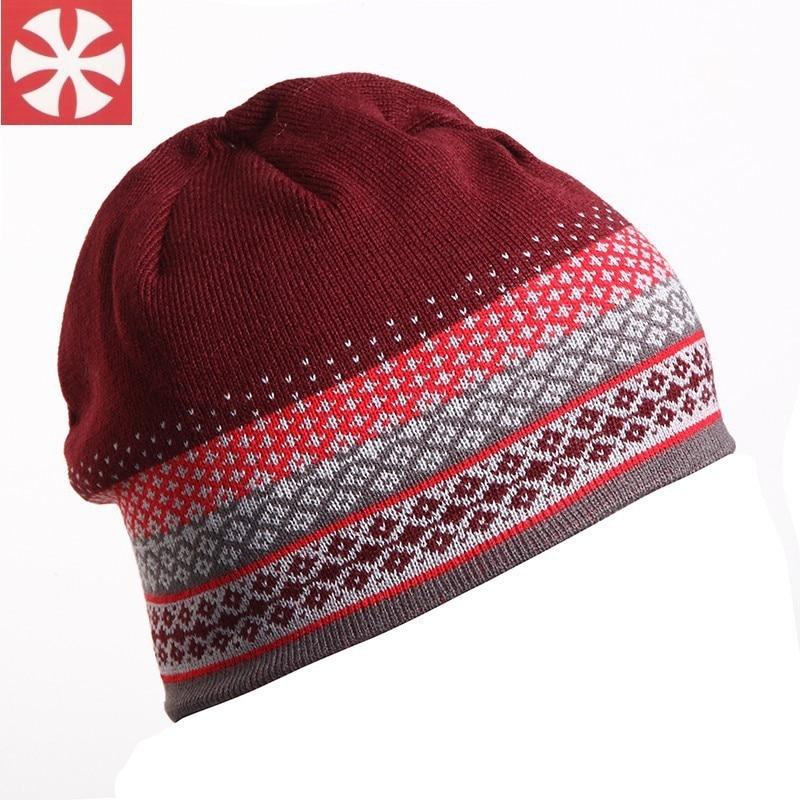 0026 Outdoor Sport Skiing Hat Fleece Lining Knitting Hat Adult Winter Warm Beanie Hats