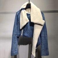 Женская короткая куртка осень мода мех отложной воротник с длинным рукавом Куртка пальто 2019 мода женская новая джинсовая куртка верхняя од