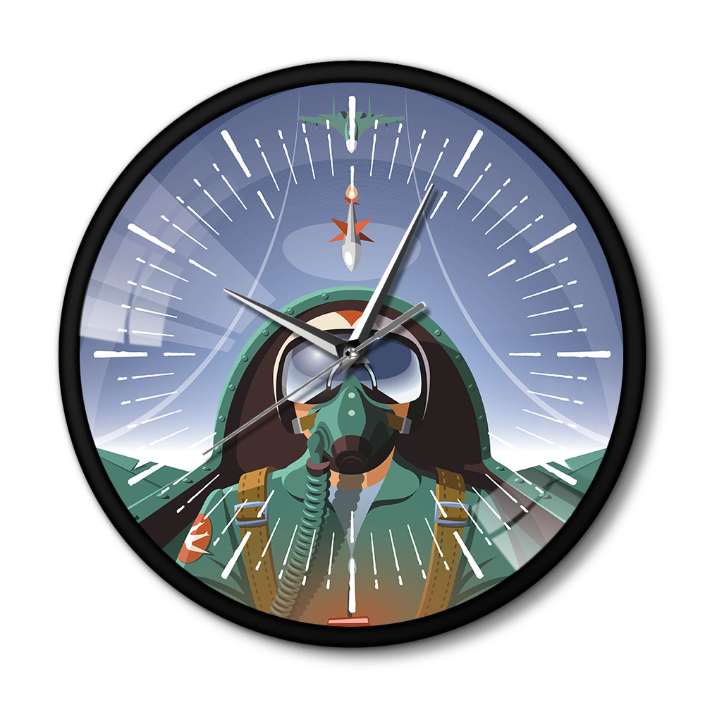 Military Pilot In Aircraft Cockpit Airplane Wall Clock With Black Metal Frame The Flying Plane Jet Aviator Wall Art Clock Watch