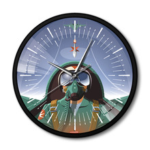 Military Pilot In Aircraft Cockpit Airplane Wall Clock With