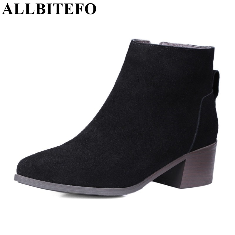 ALLBITEFO fashion genuine leather thick heel zip High quality short women boots pointed toe platform ankle boots martin boots 4 colors round toe charm high heel genuine leather platform martin ankle boots fashion western high quality short womne boots