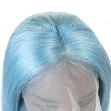 Фронтальные парики от уха до уха Бразильские прямые светло-голубые человеческие волосы 13x4 Парики