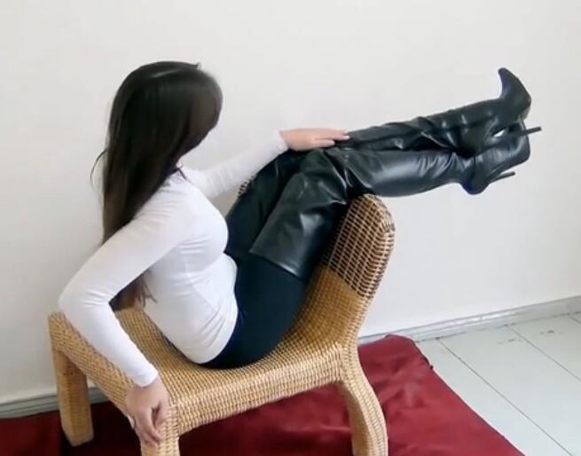 Chaussures Picture As Femme En Cuir Zipper Bout Sur Longue Bottes Cuissardes Pointu 2018 Le Femmes Botines Mince Genou Talon Noir D'hiver 1R1H5rAqw