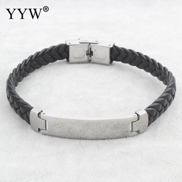 Fashion Black Leather Cord Bracelet Men Punk Stainless Steel Silver Charm Id Bracelets Bangles Mens