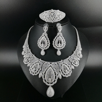 2019 NEW FASHION palace crystal CZ zircon necklace earring bracelet ring wedding bridal banquet dinner dressing jewelry set