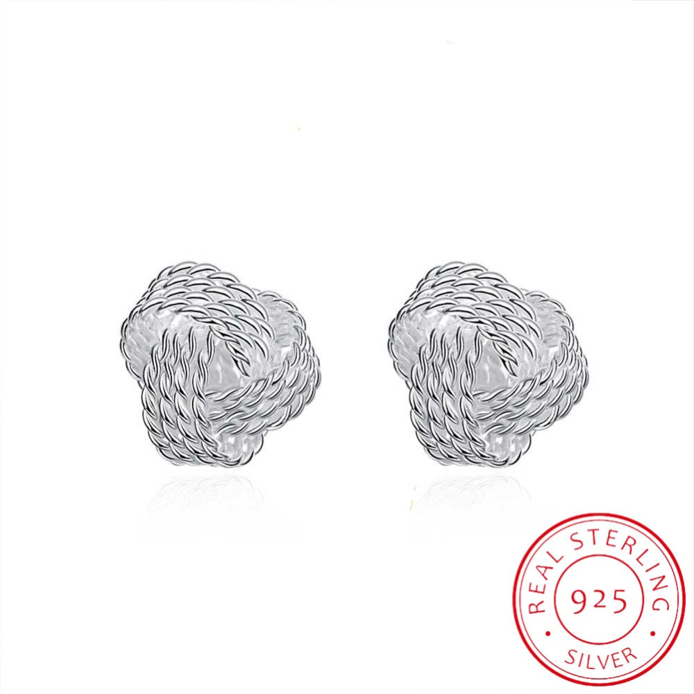 LEKANI Hot Sale 925 Silver Sparkling Love Knots Stud Earrings For Women Compatible With Fine Jewelry