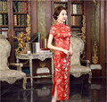 Elegant Red Chinese Women's Satin Long Cheongsam Qipao Lady Summer Vintage Evening Dress Flowers Size S M L XL XXL XXXL C0032
