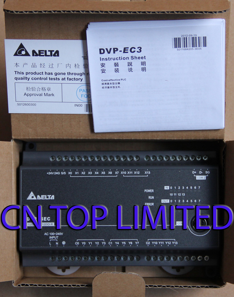 DVP24EC00T3 Delta EC3 Series Standard PLC DI 12 DO 12 Transistor 100-240VAC new in box dvp40ec00t3 delta plc ec3 series 100 240vac 24di 24do new original transistor output