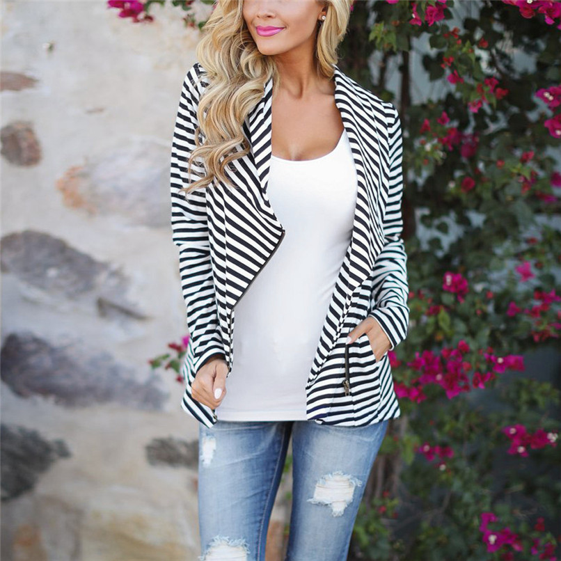2018 Women Autumn Zipper Stripe Coat Female Long Sleeve Slim Fit Black Chaqueta Mujer Parka Casual Coat Women #F#50NV1