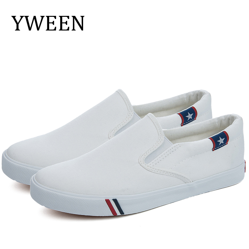 YWEEN New Men Vulcanize Shoes Man Fashion Sneakers Leisure Platform Flats Student Breathable White Single Shoes Slip-on Shoes