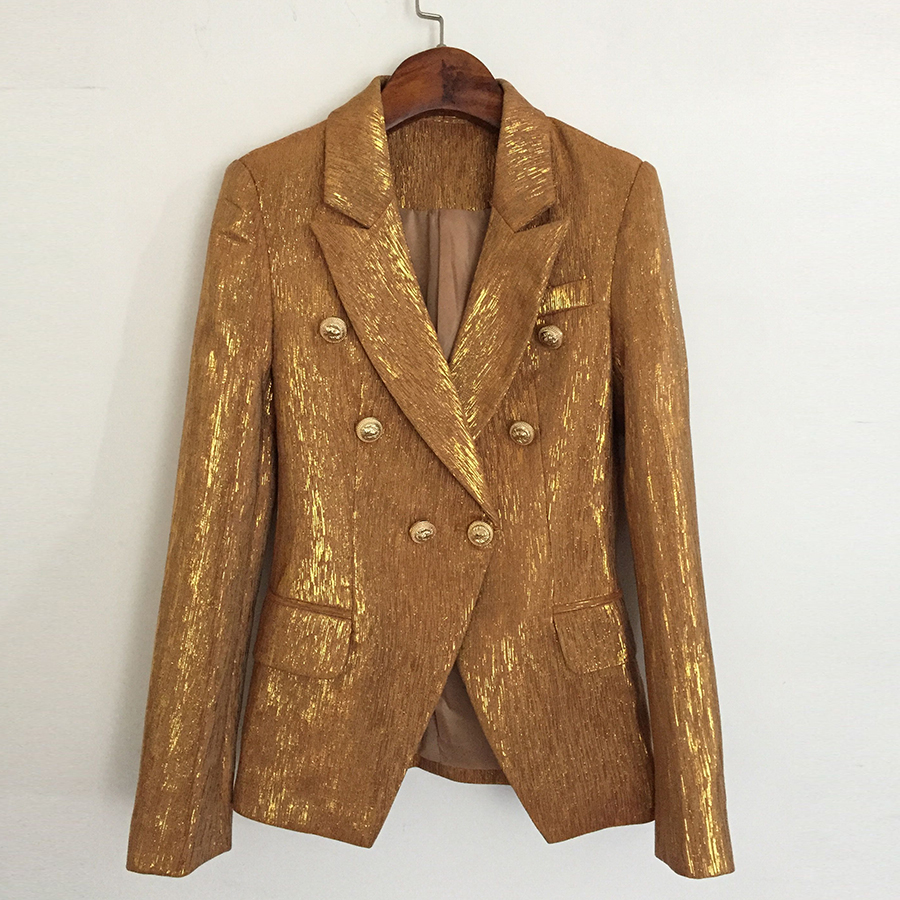 High Quality New Fashion Designer Blazer Jacket Women's Lion Metal Buttons Double Breasted Blazer Outer Coat Gold
