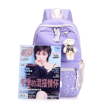 Women 3Pcs Canvas Backpack Schoolbag School For Girl