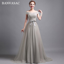 BANVASAC 2018 Pleat Boat Neck Bow Sash A Line Long Evening Dresses Elegant Party Lace Short Sleeve Prom Gowns