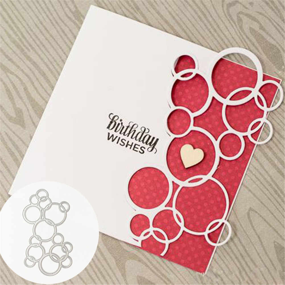 Cutting Embossing Levert Verjaardag Wensen Metalen Stansmessen Ronde Cirkel Hollow Out Scrapbooking Album Decoratie Craft Sterven