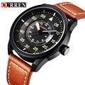 Nova curren relógio de quartzo pulseira de couro genuíno business casual round dial relógios militares à prova d' água relógio de pulso relogio 8210