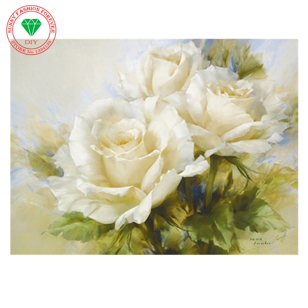 5D DIY diamond Painting flowers 3D mosaic White Rose Cross Stitch ...