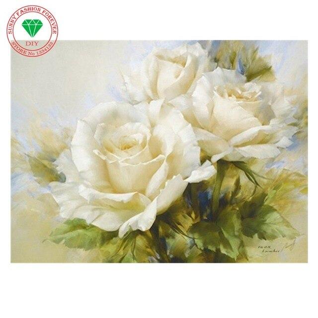 5D DIY diamond Painting flowers 3D mosaic White Rose Cross Stitch ...