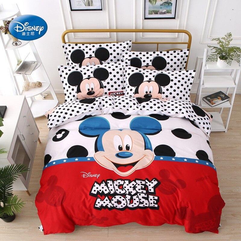 New Arrival 2018 Mickey Mouse Duvet Cover Set With Black Polka Dots Bedding Set For Children Bedroom Decor Bed Linen