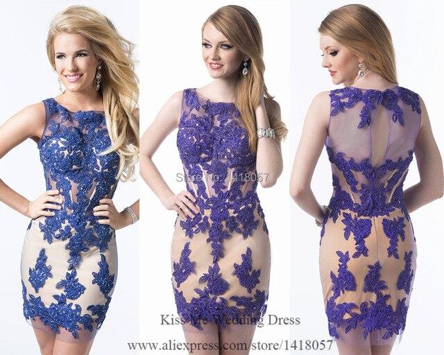 12202 2015 Royal Blue Purple Lace Cocktail Dresses Bodycon Dress For Party Short Women Vestido Festa C526 En Vestidos De Cóctel De Bodas Y Eventos