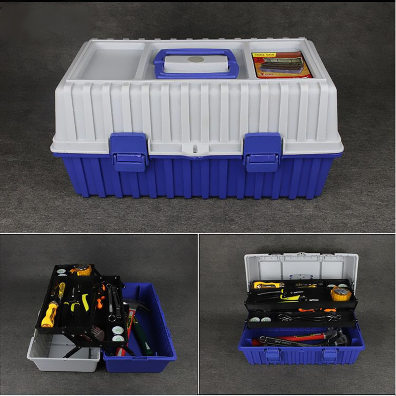 Portable three tier high capacity hardware caixa de ferramentas car maintenance tools storage box folding toolbox