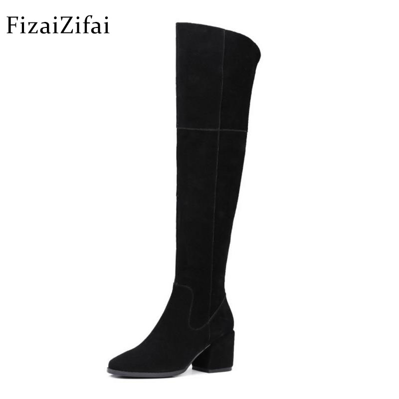 Fizaizifai Women Real Leather High Heel Boots Zipper Over Knee Boots Warm Fur Shoes Cold Winter Botas Women Footwears Size 34-39