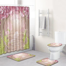Landscape Bathroom Curtain Waterproof Fabric Shower Curtain Carpet Toilet Mat for Bathroom 4 Pieces Set Bath Curtain(China)