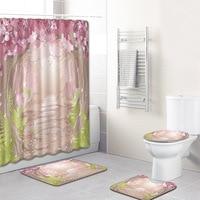 Landscape Bathroom Curtain Waterproof Fabric Shower Curtain Carpet Toilet Mat for Bathroom 4 Pieces Set Bath Curtain