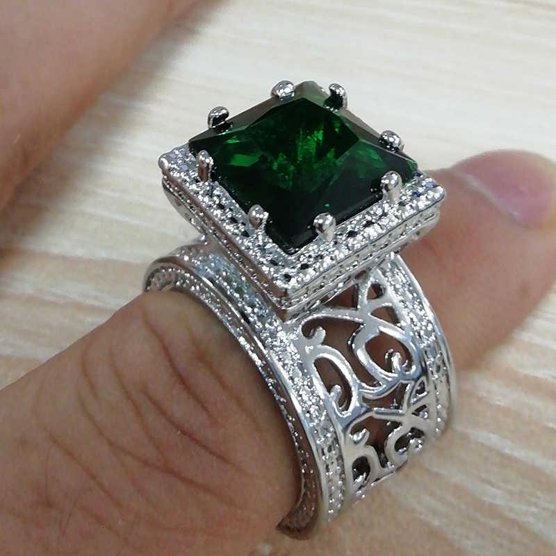 Piedra grande de Color verde anillo cuadrado anillos de boda para mujer Luxruy Jewelry CZ Color plata anillo de compromiso Bague Femme Anel regalo S5X873