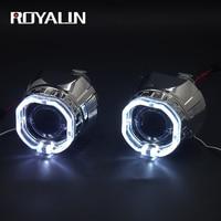 ROYALIN Car Square H1 LED Angel Eyes Lights Lens Universal Motorcycle H4 H7 Bi Xenon Headlights Projector White Devil Eyes Rings