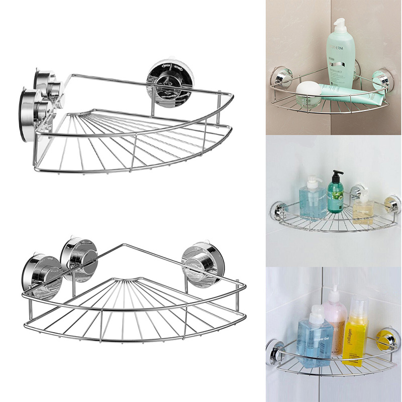 Us 11 87 Bath Shelf Shower Caddy With Strong Suction Cups Rustproof Stainless Steel Storage Basket For Bathroom Triangular In Shelves
