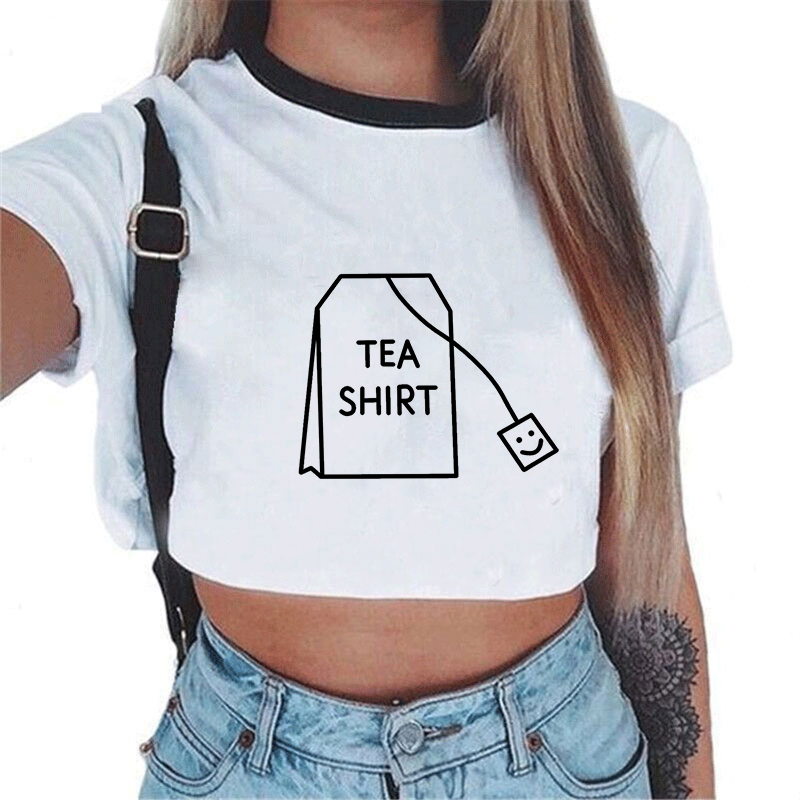White Sexy Crop Top Women Sexy Harajuku Streetwear Tank Tops Tees Transparent Print Clothes Short Sleeve Solid Femme Summer