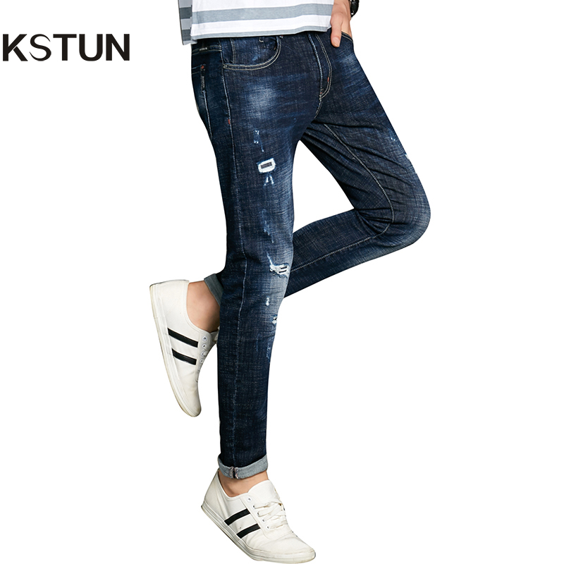 KSTUN Autumn Mens Brand Jeans Dark Blue Ripped Stretch Denim Men Jeans Skinny Pants Tapered Slim Torn Trousers Male Cowboy Homme 2017 fashion patch jeans men slim skinny stretch jeans ripped denim blue pants new famous brand mens elastic jeans f701