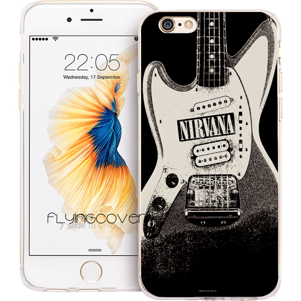 Coque Nirvana Band Guitar Clear Soft TPU Silicone Phone Cover for iPhone X 7 8 Plus Case for iPhone 5S 5 SE 6 6S Plus 4S 4 Cases